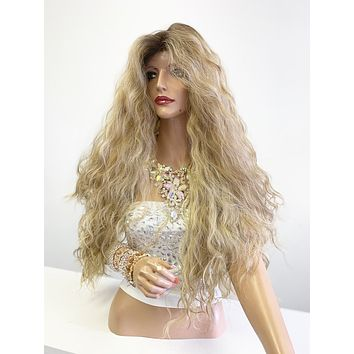 """Balayage Ombré Honey Brown Blonde SWISS Lace Front Wig 30"""" 