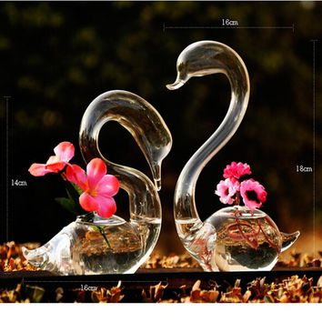 Love Swan flower vases home decoration flower pots planters wedding decoration vasos party gifts hot sale glass crafts