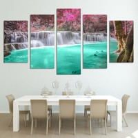 waterfall forest wall art on canvas panel print print poster living room