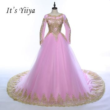 It's YiiYa Pink Blue Red with Golden Lace Full Sleeves O-neck Trailing Muslim Wedding Dresses Train High Grade Bride Dress Z005