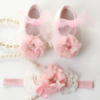 Newborn Baby Girl Shoes Brand,Toddler Infant Fabric Baby Booties Headband Set,Little Girl Baby Walker First Shoe,#2T0051