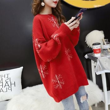 Christmas Snowflakes Slouchy Knit Sweater?