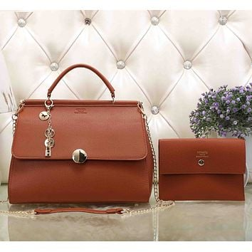 Hermes Women Fashion Leather Satchel Tote Handbag Shoulder Bag Crossbody Set Two-Piece