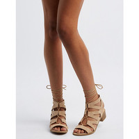 Chunky Heel Lace-Up Gladiator Sandals