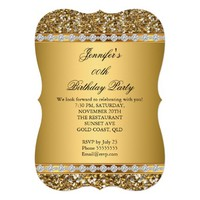 "Elegant Gold Glitter Diamond Birthday Party 2 5"" X 7"" Invitation Card"