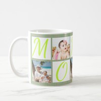 Photo Collage Green Stripe Pattern Mug for Mom