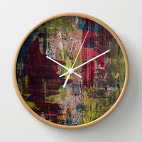 Abstract art clock, modern painting wall clock, art lover home decor, red yellow pink design decorative print clock