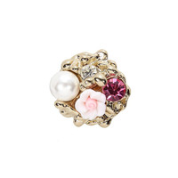 Multicolor Flower & Faux Pearl Ring