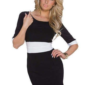 Black Short Sleeve Contrast Bodycon Mini Dress