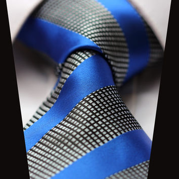 Solid Medium Striped Blue Paisley Tie with Checkerboard Design