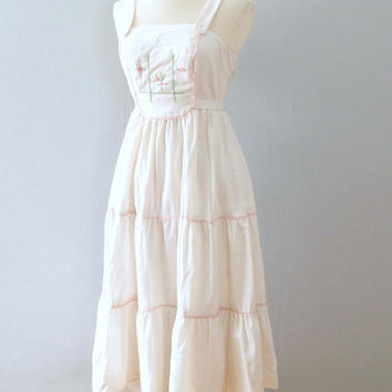 ba13824305b white prairie dress - 70s vintage sundress Candi Jones pastel pi