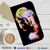 Marilyn Monroe Color Art Leather Wallet iPhone 4/4S 5S/C 6/6S Plus 7| Samsung Galaxy S4 S5 S6 S7 NOTE 3 4 5| LG G2 G3 G4| MOTOROLA MOTO X X2 NEXUS 6| SONY Z3 Z4 MINI| HTC ONE X M7 M8 M9 CASE