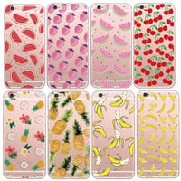Ultra-thin Clear Fruit Pineapple Lemon Banana TPU Soft Silicon Transparent Case Cover For Apple iPhone 5S 6 6S 6Plus Capa Coque