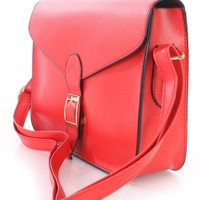 Red Faux Leather High Polish Buckle Accent Shoulder Strap Handbag