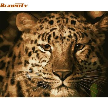 RUOPOTY Frame Animals Leopard DIY Painting By Numbers Modern Wall Art Picture Paint By Number For Home Wall Decor 40x50cm Arts