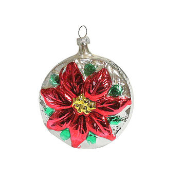 Retro Poinsettia Flower Ornament, Hand Blown Glass, Vintage Christmas