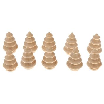 10pcs Blank DIY Wooden Christmas Tree Peg Dolls Party Cake Toppers