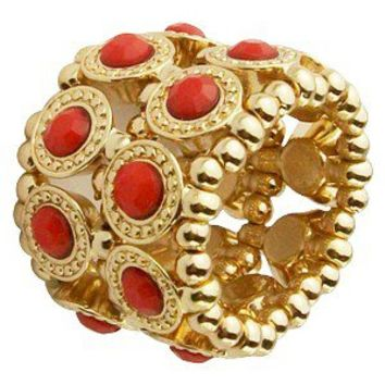 Textured Layered Stretch Wide Band Ring - Coral/Gold