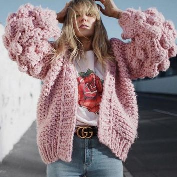 ac NOVQ2A Autumn and winter new style blogger handmade ball lantern sleeves lazy loose knit sweater cardigan jacket