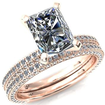 Mariyah Radiant Moissanite 4 Prong 3/4 Eternity 3 Sided Diamond Shank Engagement Ring