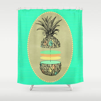 Sliced pineapple Shower Curtain by AmDuf