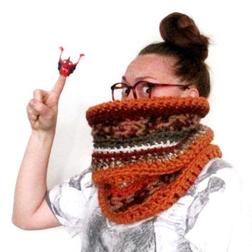 Big & Chunky Orange Cowl Scarf. One of a kind. Ready to Ship