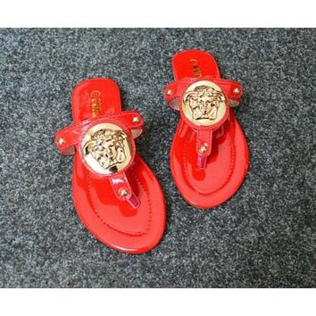 VERSACE WOMEN'S SLIPPERS FLAT SANDALS FLIP FLOPS