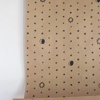 Sun, Moon, Stars Kraft Wrapping Paper