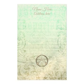 Victorian script and floral scroll stationary stationery