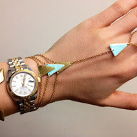 Bracelet ring - arrow - triangle - mint - gold