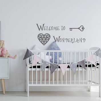 Alice In Wonderland Welcome To Wonderland Wall Decal Nursery Room Quote Wall Decal Above Crib Decor Baby Wall Stickers B683