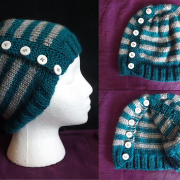 Hand-knit Button-Up Beanie
