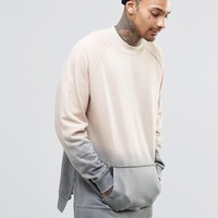 ASOS Oversized Sweatshirt In Dip Dye