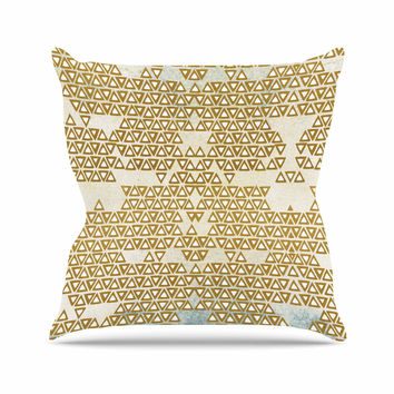 "Pom Graphic Design ""Mint & Gold Empire"" Yellow Geometric Throw Pillow"