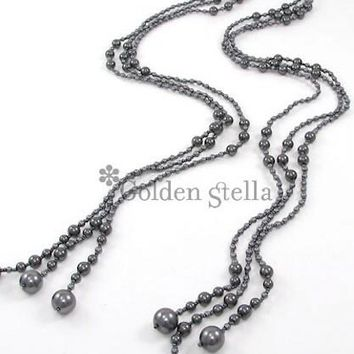 3 Strand Glass Pearl & Beads Open Necklace