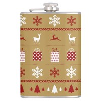 Christmas Sweater Pattern, Red White on Gold Hip Flasks