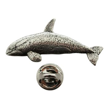 Orca Whale Pin ~ Antiqued Pewter ~ Lapel Pin