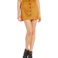 Alythea Button-Front Faux-Suede Skirt | Dillards