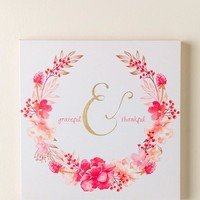 Grateful and Thankful Floral Canvas Wall Decor