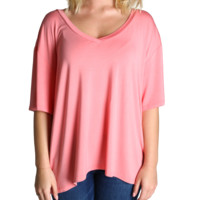 Strawberry Ice Piko V-Back Short Sleeve Top