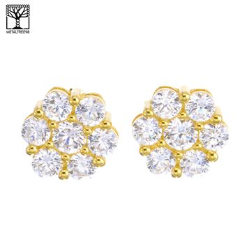 Jewelry Kay style Men's Iced Out Gold Plated Micro Pave Hexagon CZ Screw Back Earrings SHS 613 G