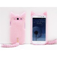 3D Cute Fluffy Tail Cat TPU Case Cover Skin for Samsung Galaxy S3 i9300 Pink
