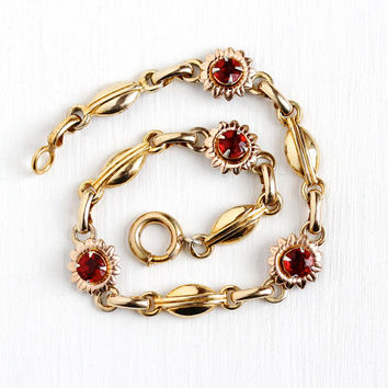 Vintage Flower Bracelet - 12k Rose & Yellow Gold Filled Simulated Ruby Panels - Retro 1940s Red Glass Stone Floral Crosby Two Tone Jewelry
