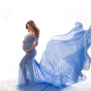 Angela Gown • Slim Fit Gown • Mermaid Style Maternity Gown • Sheer Maternity Gown •  Maternity Photo Shoot Gown • Event Gown • Wedding Dress