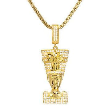 "Jewelry Kay style Men's Iced Gold Tone Egyptian Pharaoh Pendant 24"" Box Chain Necklace BSH 13127 G"
