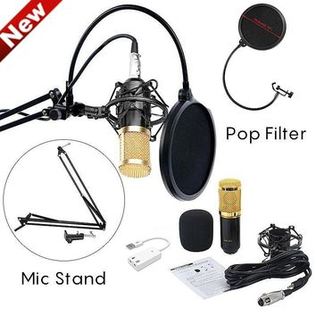 BM800 Studio Microphone Condenser Microphone Pro Audio Studio Sound Recording Arm Stand Pop Filter Studio Recording Equipment