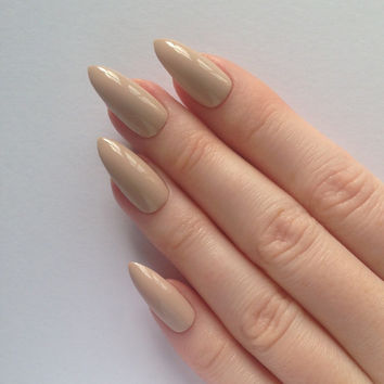 Nude stiletto nails, Nail designs, Nail art, Nails, Stiletto nails, Acrylic nails, Pointy nails, Fake nails, False nails