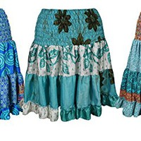 Mogul Interior Wholesale Lot Of 3 Womens Tiered Skirt Recycled Sari Vintage Full Flare Come Casually Beach Skirts