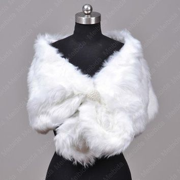 Real Faux White Fur Jacket Fashionable Bolero Women Wedding Dress Accessories 2016 New Arrival Stole For Parties