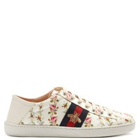 New Ace rose-print foldable-heel canvas trainers | Gucci | MATCHESFASHION.COM US